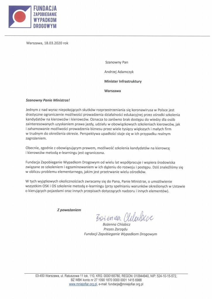 Pismo do Ministra Infrastruktury